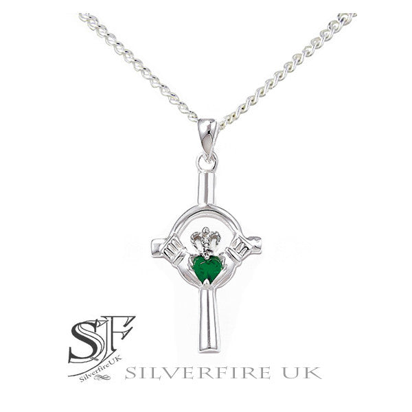 Claddagh Celtic Cross Necklace with Emerald