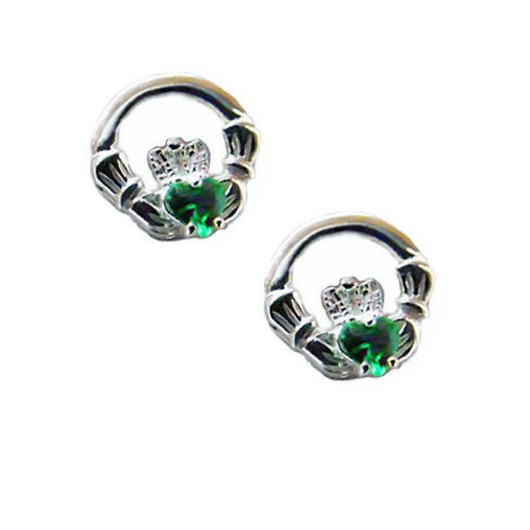 Claddagh Earrings with Emerald Green Stones