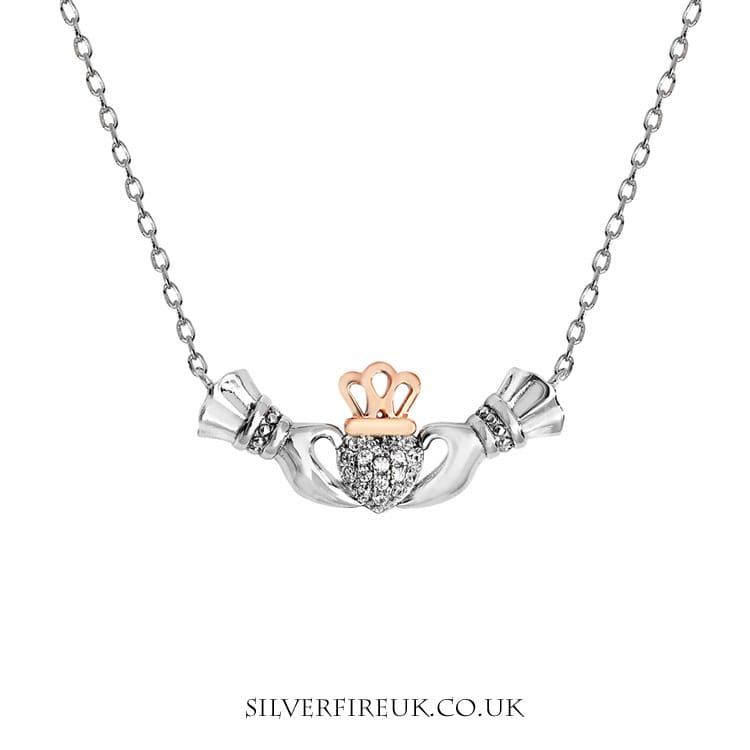Claddagh necklace with cz and rose gold