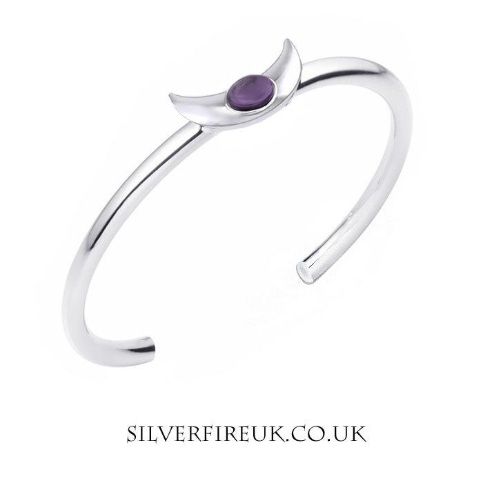 Crescent Moon Bangle, Amethyst