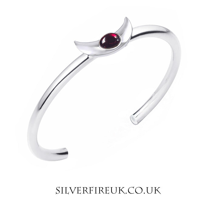 Crescent Moon Bangle, Garnet