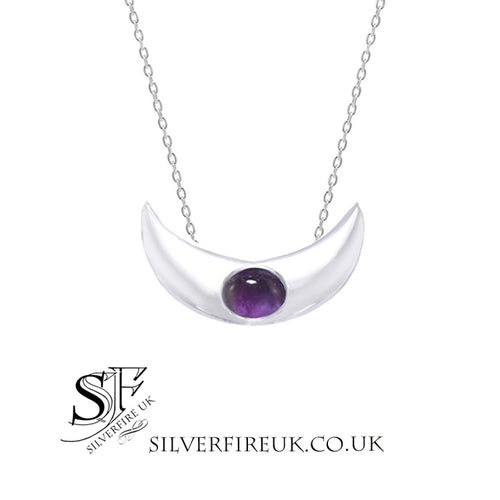 Crescent Moon Necklace Amethyst