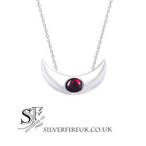 crescent moon necklace garnet