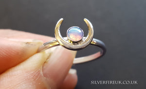crescent moon opal ring