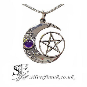 crescent moon pentagram necklace with amethyst