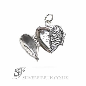 Angel Wing Heart Locket With Personalised Silver Heart Charm