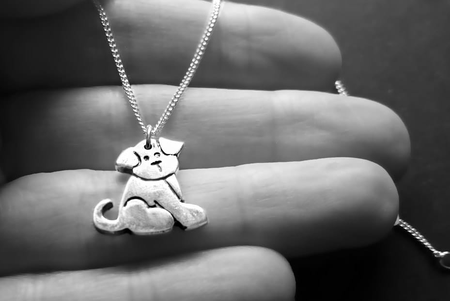 dog necklace silver