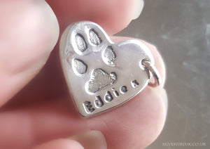 Custom HEART Charm Necklace - With Your Pets Paw Print