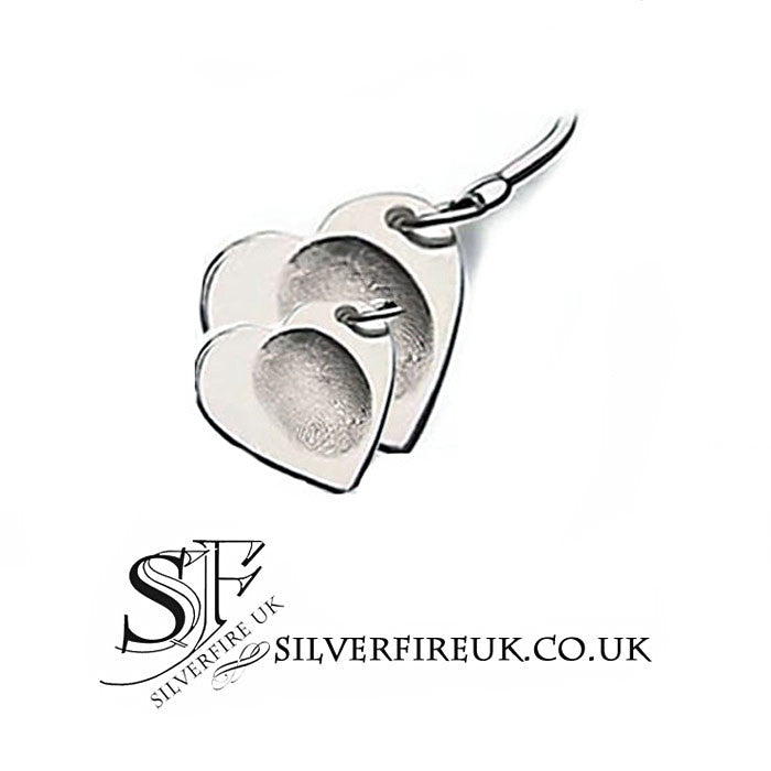 Double hearts fingerprint charms, personalised jewellery