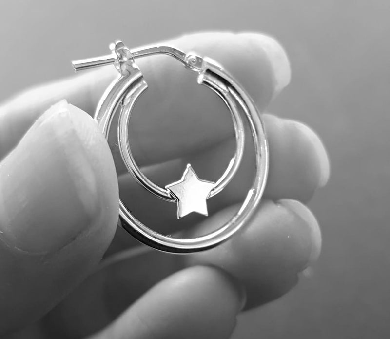 double hoop star earrings