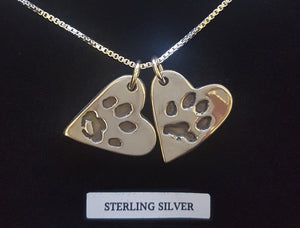 personalised paw print heart necklace