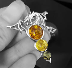 dragon necklace with 3 amber orbs