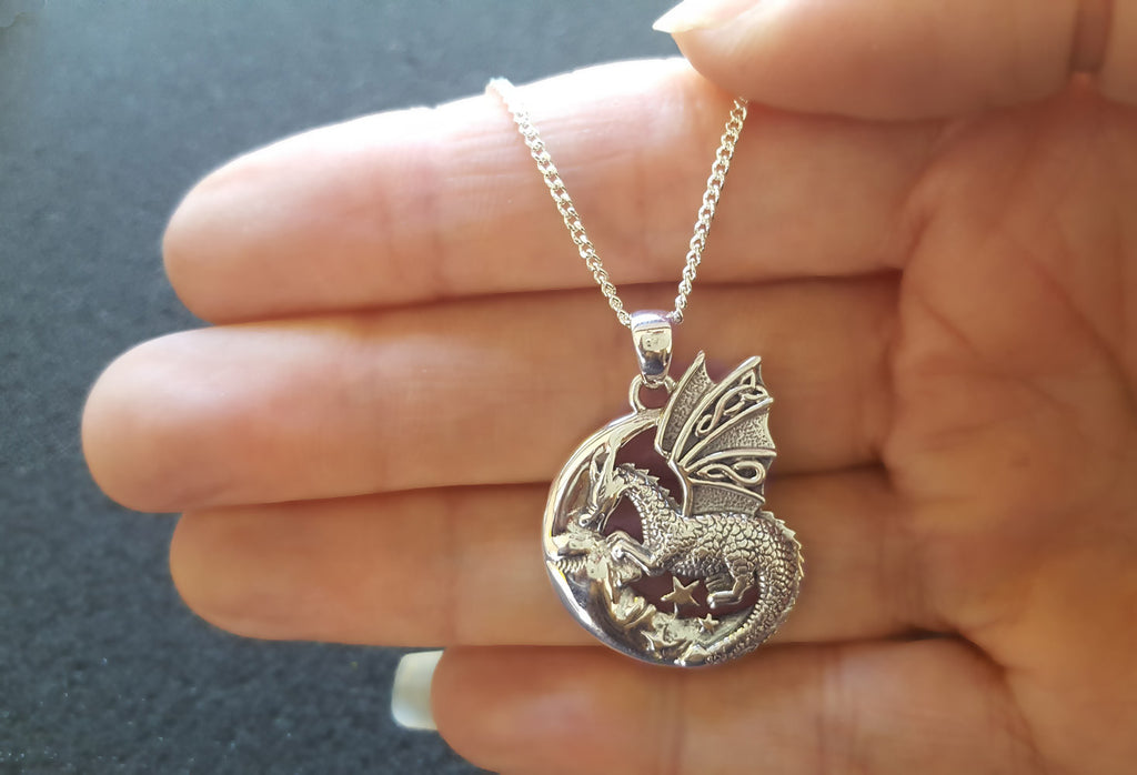 Dragon On Moon Necklace, Dragon Jewellery
