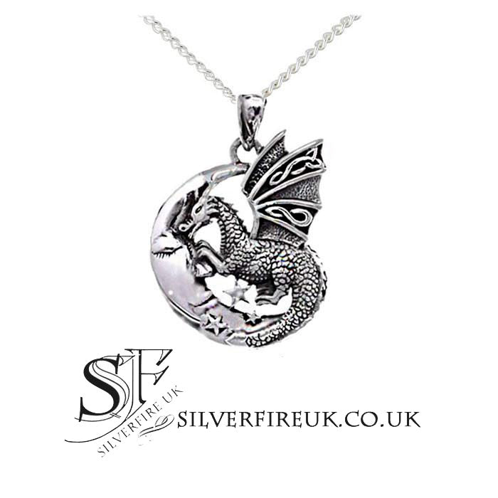 Dragon necklace dragon on crescent moon necklace sterling silver the celtic moon dragon necklace chain included aloadofball Image collections