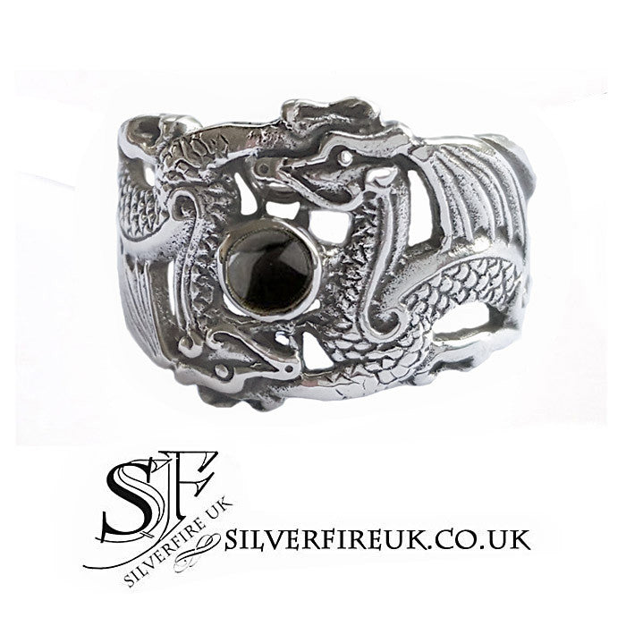 Mens Dragon Ring With Onyx