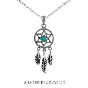 dreamcatcher necklace with turquoise