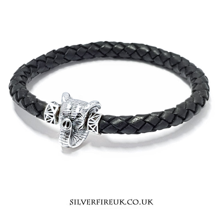 NEW: Mens Elephant Bracelet (leather & sterling silver)
