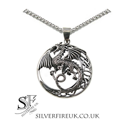 Flying Dragon Necklace Celtic Knots