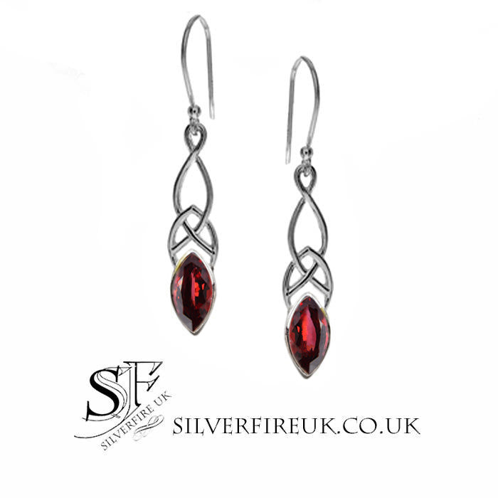 garnet celtic earrings