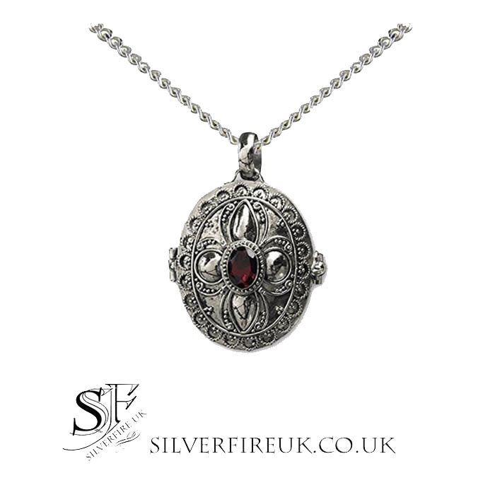 Garnet Locket Necklace