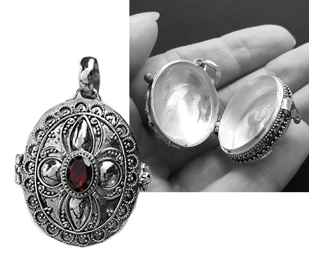 large gothic locket garnet