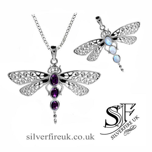 dragonfly pendant with gemstones