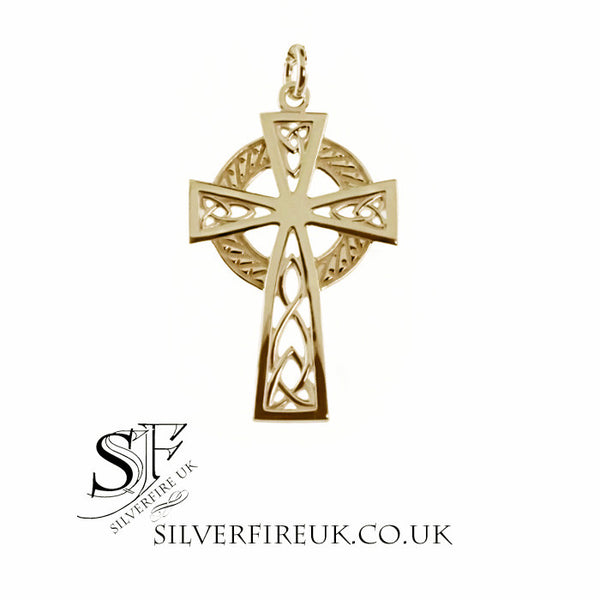 Celtic Cross Pendant Gold Filagree Irish Celtic Cross
