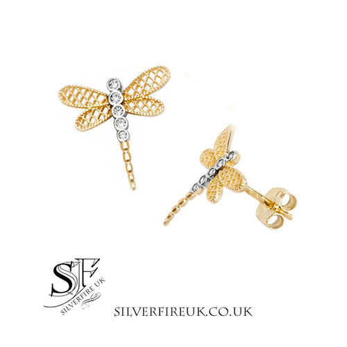 gold dragonfly earrings crystals