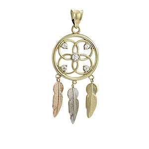 Gold dreamcatcher necklace