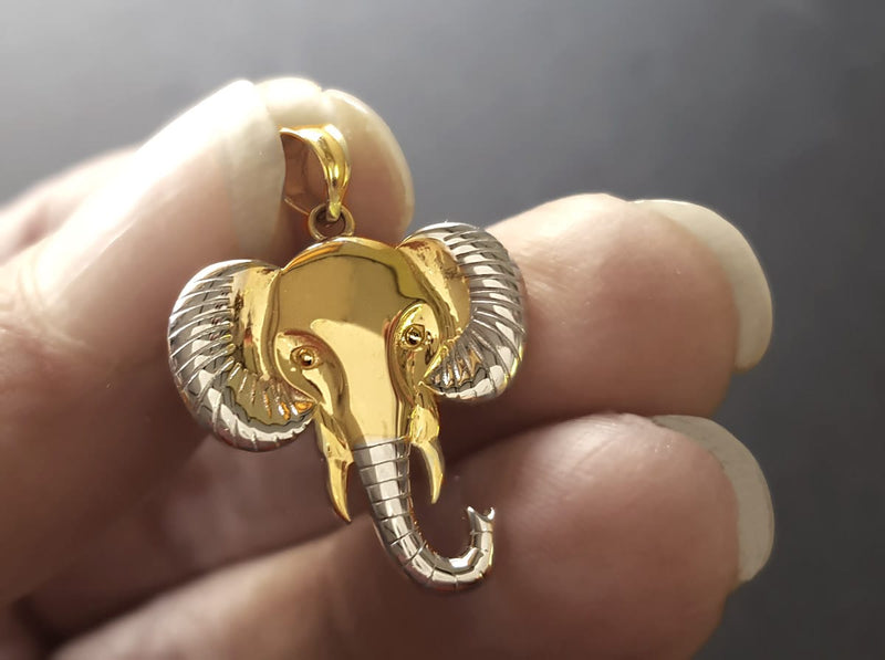 NEW: Gold Elephant Necklace ( 9ct Yellow and White Gold)