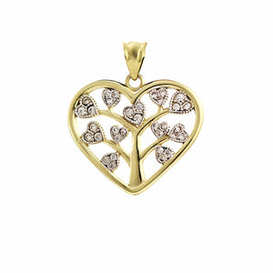 gold tree of life necklace with zirconia