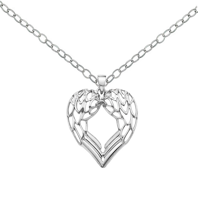 gothic angel wing heart necklace