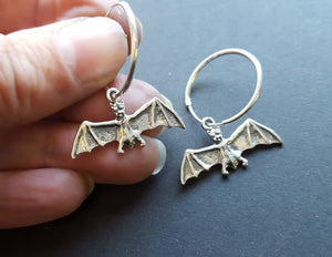 gothic bat hoop earrings