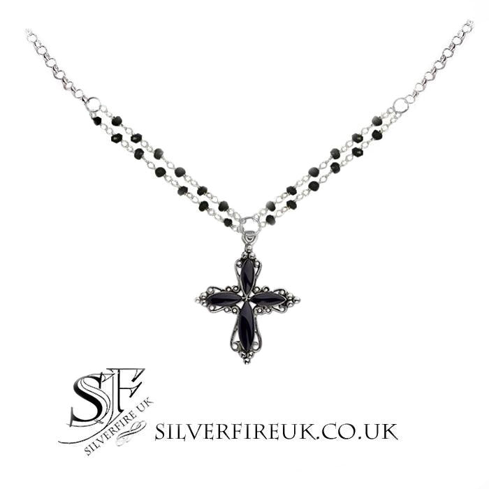 black gothic cross choker necklace