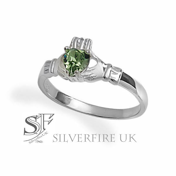 Claddagh Ring With Green Zirconia