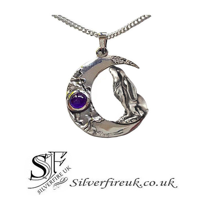 Hare gazing moon necklace