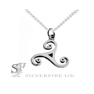 Ladies Wild Triskele Celtic Swirl Pendant, with chain