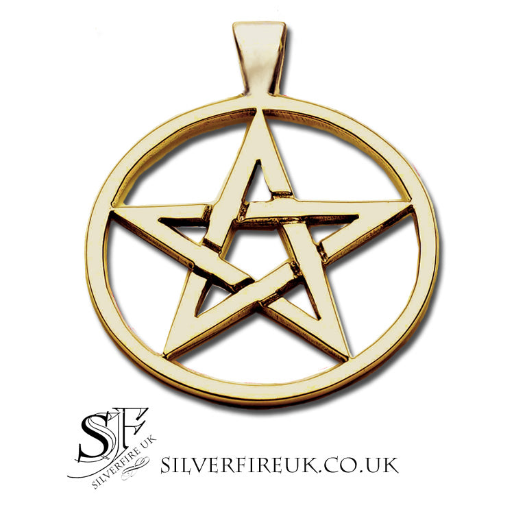large gold pentacle necklace