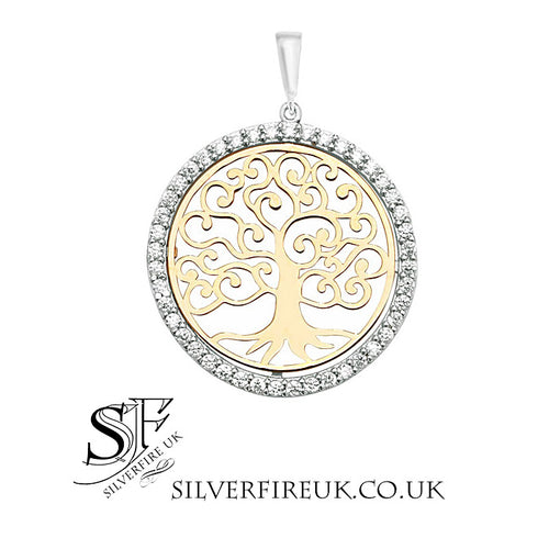 Gold Tree of lIfe Necklace Crystal CZ Gemstones