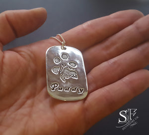 large dog tag paw print pendant