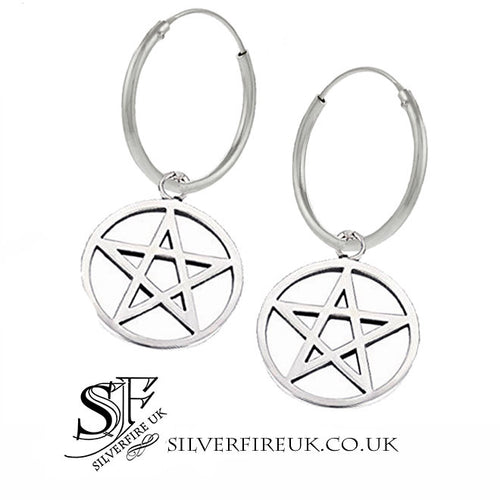 20mm pentacle hoop earrings, pagan