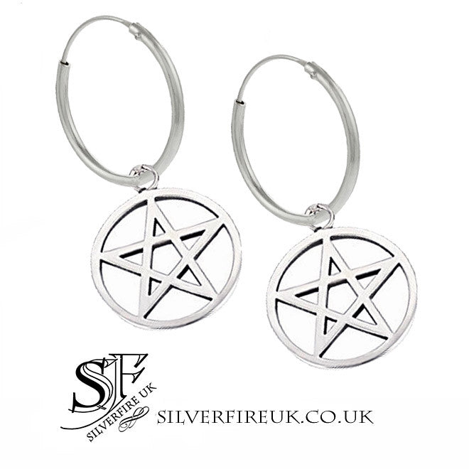 Large pentagram hoop earrings silver