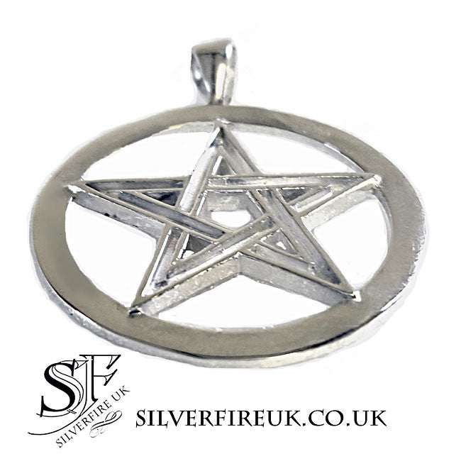 Large pentagram necklace, mens pagan necklace