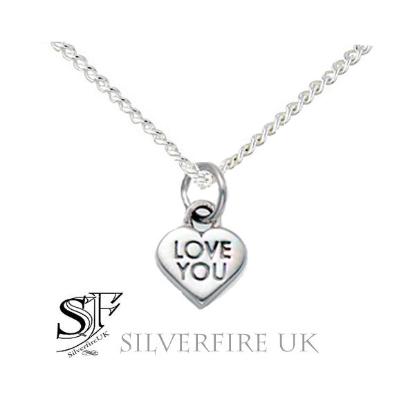 Love You Silver Heart Necklace