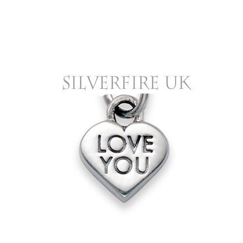 Love You Heart Charm, Sterling Silver Charms