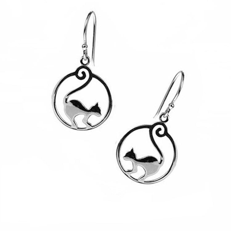 Celestial Feline Lunar Jewelry Sterling Silver Cat and Crescent Moon Pendant