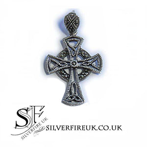 celtic cross pendant marcasite gemstones