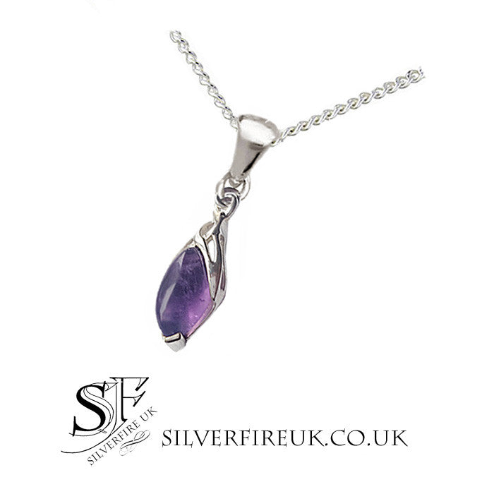celtic drop necklace marquise amethyst