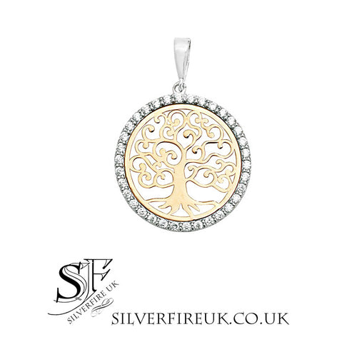 Gold Tree Of Life Necklace 9ct Yellow And White Gold