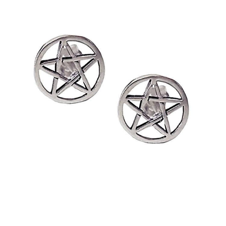 pentagram stud earrings, medium pentagram